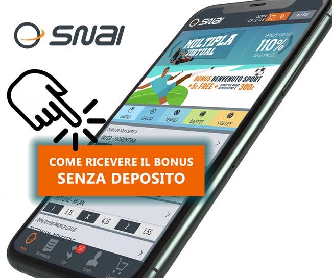 Bonus scommesse SNAI - 5€ senza deposito