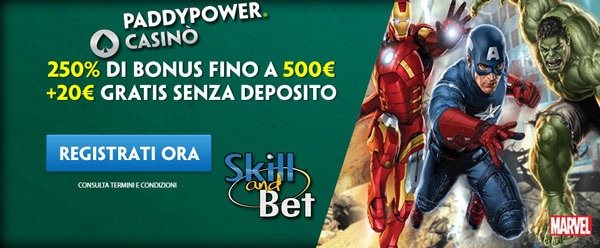 paddy power casino bonus senza deposito